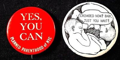 2   Planned Parenthood Nyc   Crowded 1970S Buttons   Original Pinbacks Scarce