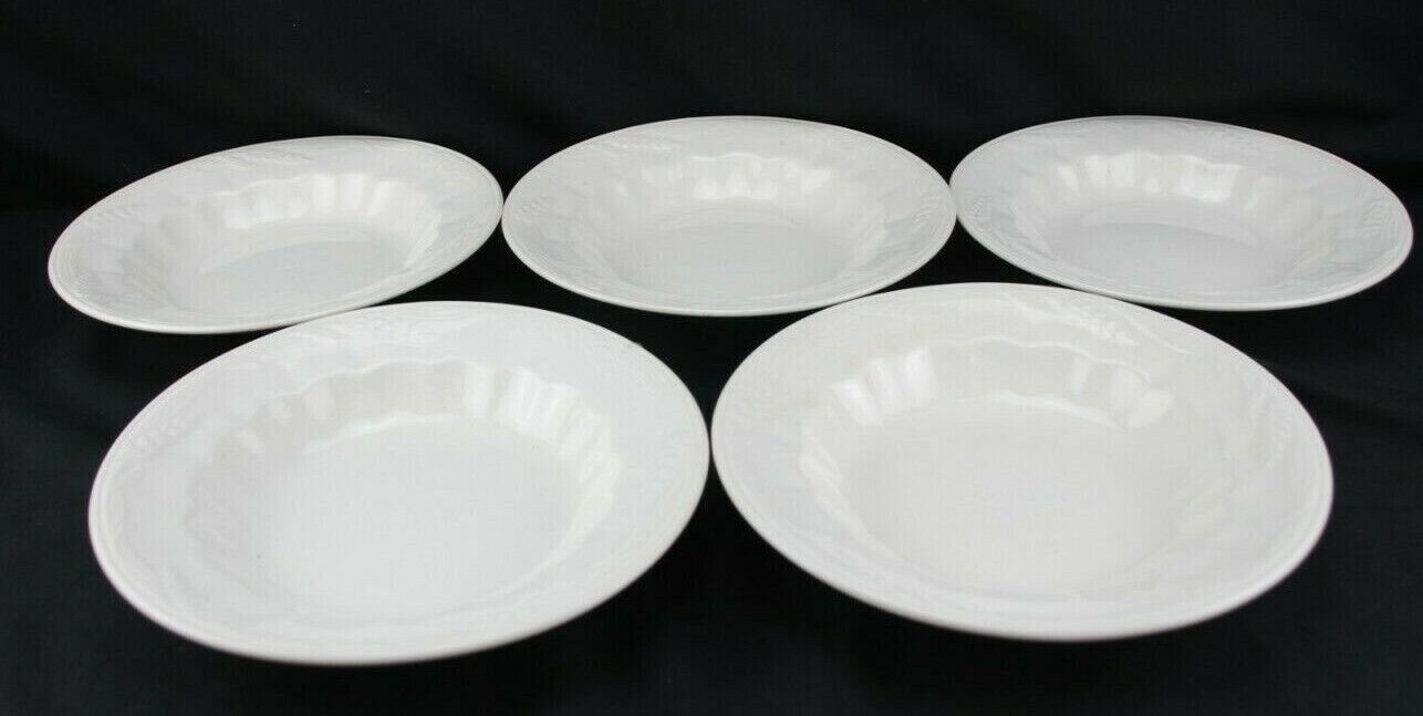 Wilkinson England Ironstone Pottery White Wheat Set 5 Rimmed Soup - $87.49