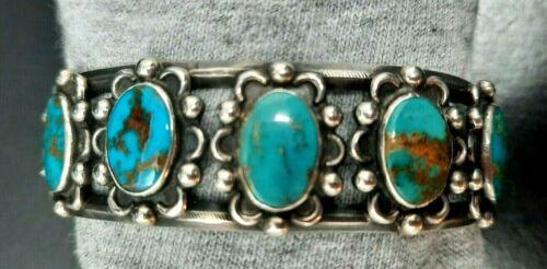 Phenomenal Old PAWN NAVAJO Boulder Royston Turquoise & Silver Cuff Bracelet