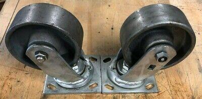 2 Heavy Duty Cast Iron Swivel Casters 5x 2 Wheels Set Of 2