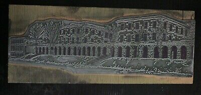 Vintage Print Making Stamp Metal Plate Lovely Building Design Ink Printing Block