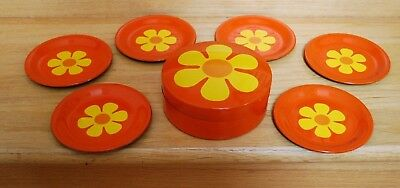 Vintage Mid Century Takahashi Modern Orange FLOWER COASTERS Set of 6 & Case