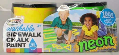Kids Sidewalk Chalk Paint Rose Art Washable Neon Yellow Green Set NEW
