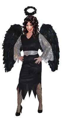 Schwarzer Engel Kostüm schwarz silber Damen Halloween weihnachten Damen-Kostüm k