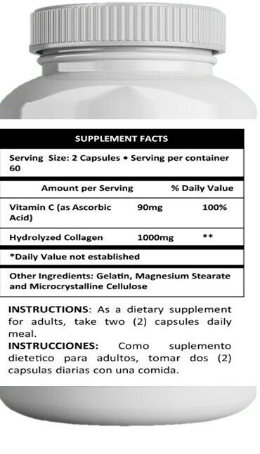 2 Hydrolized Collagen + Vitamin C  2 X 120 CAPS hidrolizado,hydrolyzed,colageno 4