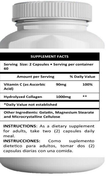Pastillas De Colageno Hidrolizado Con Vitamina Para Cabello y Piel 240 capsules  1