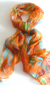 Brand New Handmade Oblong 100% Silk Scarf Shawl Wrap