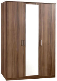 3 Door MDF Solid Wood German Wardrobe With Mirror in Walnut, Wenge (Dark Brown), White and Oak
