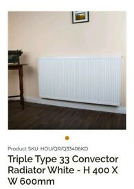 NEW TRIPLE TYPE 33 CONVECTOR RADIATOR WHITE - H 400 X W 600MM