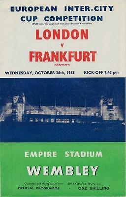 * 1955 - LONDON v FRANKFURT - INTER CITIES FAIRS CUP *