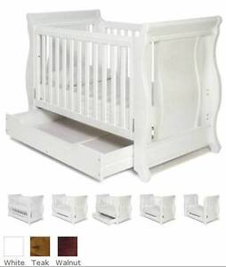 Boori sleigh cot white with drawer, convert toddler bed Ormeau Gold Coast North Preview