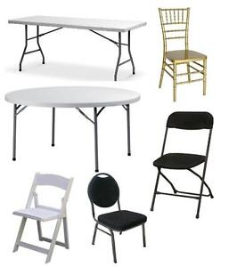 Tables, wedding chairs, chiavari chairs folding chairs Cmbg