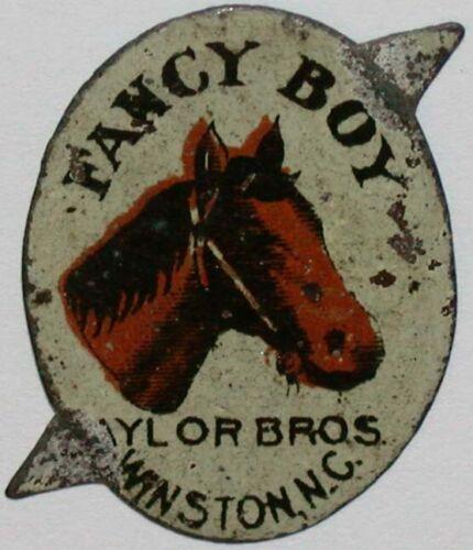 Vintage tobacco tag FANCY BOY horse pictured Taylor Bros Winston North Carolina