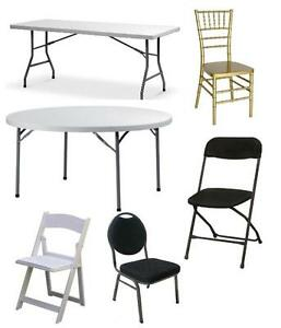 Banquet Tables, wedding chairs, chiavari chairs folding chairs