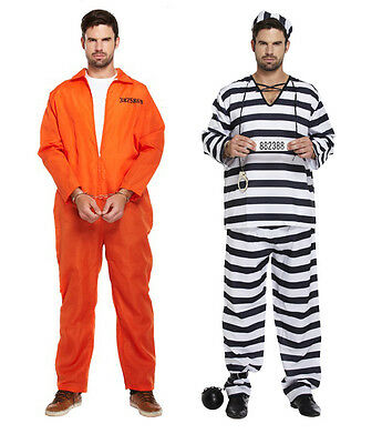 Convict Halloween Costume Mens (MENS PRISONER CONVICT COSTUME HALLOWEEN FANCY DRESS STAG PARTY OVERALL)