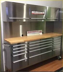Stainless Steel Tool Chest, Workbench, Pegboard and Cabinet Set Mount Barker Mount Barker Area Preview