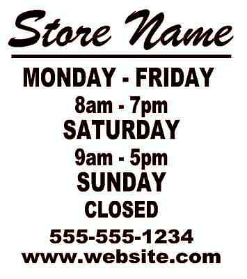 Business Store Hours Sign Window Shop Open Closed Sticker Decal 10x9 Ver 3
