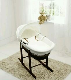 Cream Waffle with Dark Wicker moses basket & Free Deluxe Rocking stand. Walnut. Brand new. 10 plc