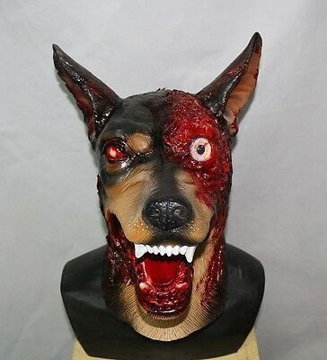 Zombie Hund Maske Halloween Evil Latex Dobermann Kostüm Einwohner Hunde Horror (Hund Halloween Maske)