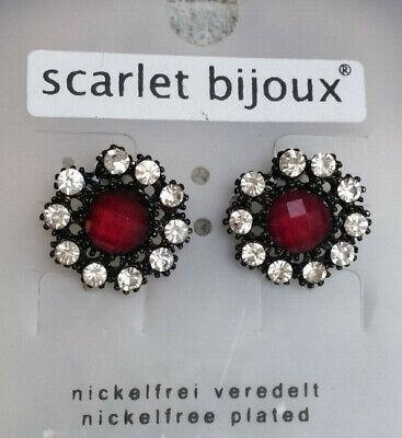 1 Paar Ohrstecker Ohrringe 2 cm Blume Mode-Stein dunkel pink Strass klar *NEU*