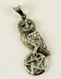 Lisa Parker 'Owl On Pentagram' Sterling Silver 925 Pendant And Chain & Pouch
