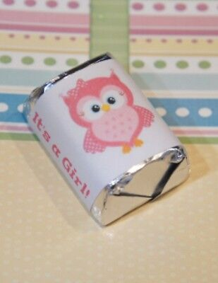 60 Baby Shower It's a Girl Pink Owl Hershey Candy Nugget Wrappers Stickers  (Pink Owl Baby Shower)