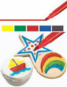 Wilton 5pk Primary Colours Edible Food Writer Pens Sugarcraft Cake Decorating