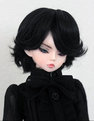 "1/4 bjd 7-8"" doll wig black color short synthetic mohair dollfie luts Iplehouse"