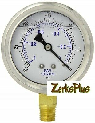 Liquid Filled 2-12 Pressure Guage Stainless Case Lower Mount 300 Hg Vacuum
