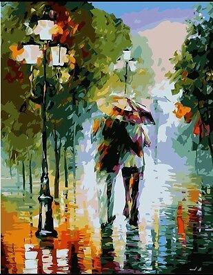 DIY Canvas oil Painting Paint By Numbers Romantic Walk Kit Include Colours+brush
