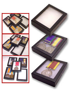 1 Glass Display Case British German French US WWI Single Pair Medals Badges Pin