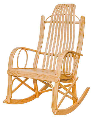 Rustic Bent Arm Rocker - Oak with Clear Lacquer Finish - Amish Made in the USA
