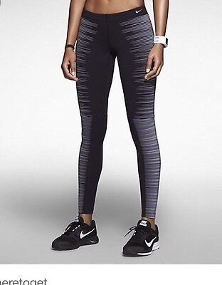 Nike Pro flash Reflective Leggings Women's M Nwt Black Silver