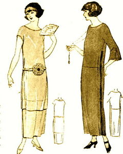 Vintage Downton Abbey Era 1920s Diagram Sewing Pattern Easy Make Fler Dress