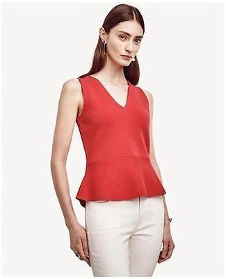 Sleeveless Knit Shell (NWT Ann Taylor Sleeveless Knit Peplum Shell Blouse Top  $79.50  Cactus Rose )