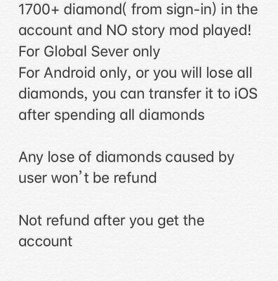 Sao MD Starter Account global sever AS server 1700+ gems