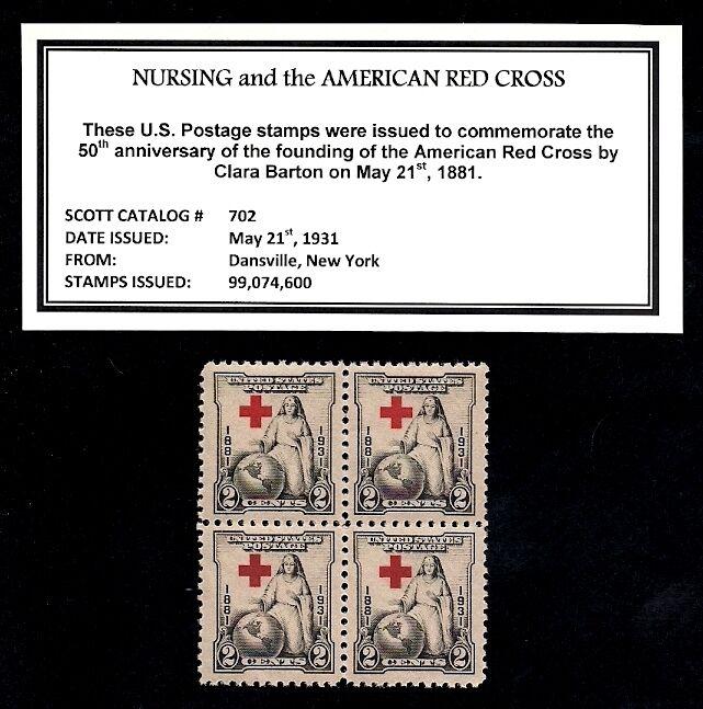 1931 - NURSING - RED CROSS  Mint NH, Block of Four Vintage U.S. Postage Stamps