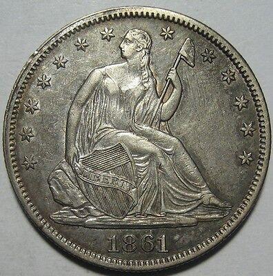 1861 AU SEATED HALF CIVIL WAR DATE