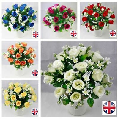 12 bunches artificial silk rose with gyp bouquet wedding in/outdoor Joblot bulk ()