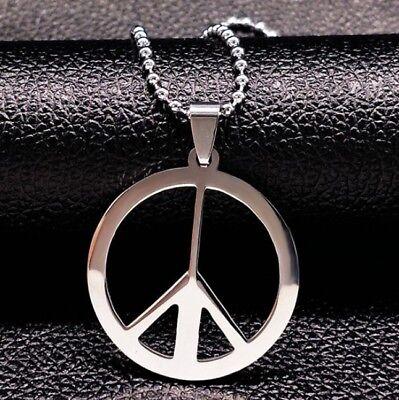 Halskette Edelstahl Love Peace-Zeichen Hippie Anhänger Frieden Mode Damen