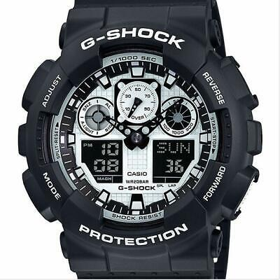 NEW G-Shock GA100BW-1A Black Resin Strap Chronograph Men's Watch