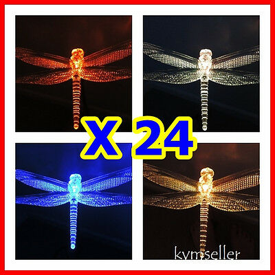 Set of 24 Solar Powered Dragonfly Garden Yard Stake Pathway Lawn Light LED Sun i Dragonfly Light Set
