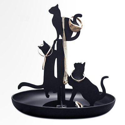 Kikkerland Black Cats Ring & Jewelry Holder / Stand