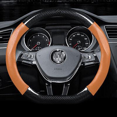 "Universal Size M 15"" Steering Wheel Cover D shape Carbon Fiber Orange Leather"