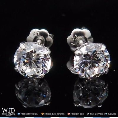 2Ct Brilliant Round Basket Screw Back Stud Earrings 14K Solid White Gold