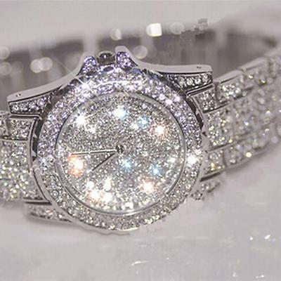 Luxury Womens Crystal Watches Fashion Stainless Steel Analog Quartz Dress Watch