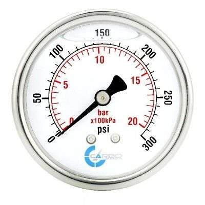 2-12 Pressure Gauge Stainless Steel Case Liquid Filled Back Mnt 0-300 Psi