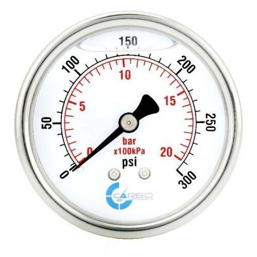 "2-1/2"" Pressure Gauge, Stainless Steel Case, Liquid Filled, Back Mnt 0-300 PSI"
