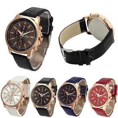 Fashion Unisex Casual  Leather Quartz Analog Luxcury Wrist Watch Gift