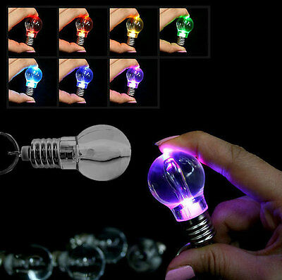 7 Colors LED Mini Bulb Flash Lights Lighting Key Chain Keyring Gift Party Xmas